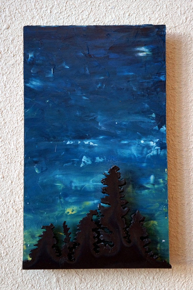 """""""Aurora and Spruces"""" Steel and Acrylic on WoodAmy Malouf"""