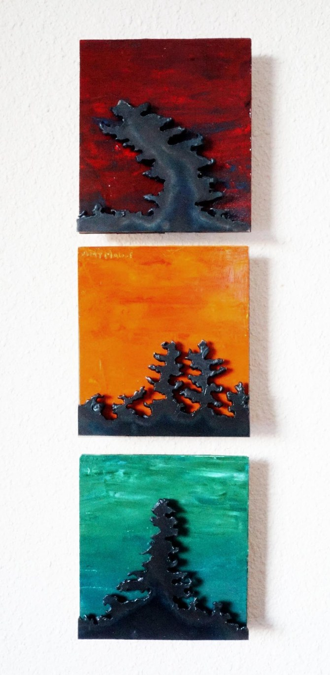 """""""Triptych"""" Steel and Acrylic on Wood (SOLD) is 3 individual 5""""X5"""" pieces,I made the Red one first, had it at a show and the lady who bought it then commissioned the other two, Thanks Sarah! Good idea! fixed"""