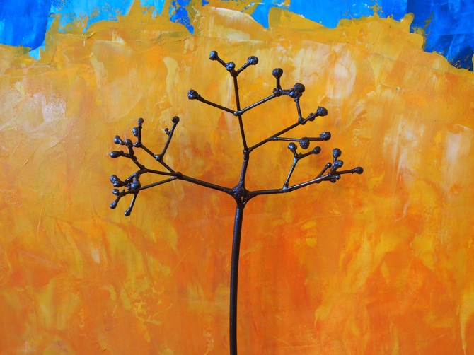 """Elderberry in Yellow and Blue"" (Detail)  Steel and Acrylic on Wood Amy Malouf 30""x 24""x 4"""