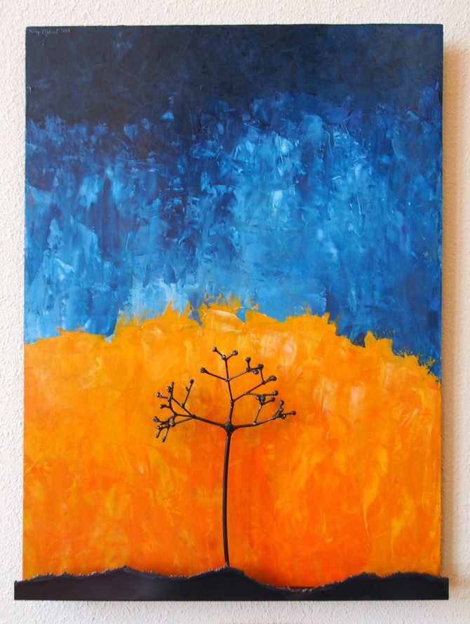 """Elderberry in Yellow and Blue"" Steel and Acrylic on Wood Amy Malouf 30""x 24""x 4"""