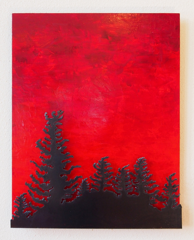 """Spruce In Red"" Steel and Acrylic on Wood Amy Malouf 30""x 24""x 2"""