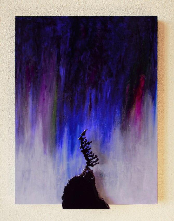 """Aurora Spruce"" Steel and Acrylic on Wood 24""x 18""x 2"""