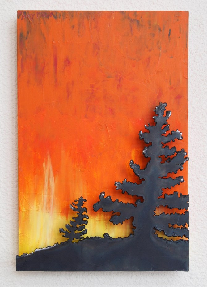 """Firelight Spruce""  Steel and Acrylic on Wood 12"" x  8""  x 2"""