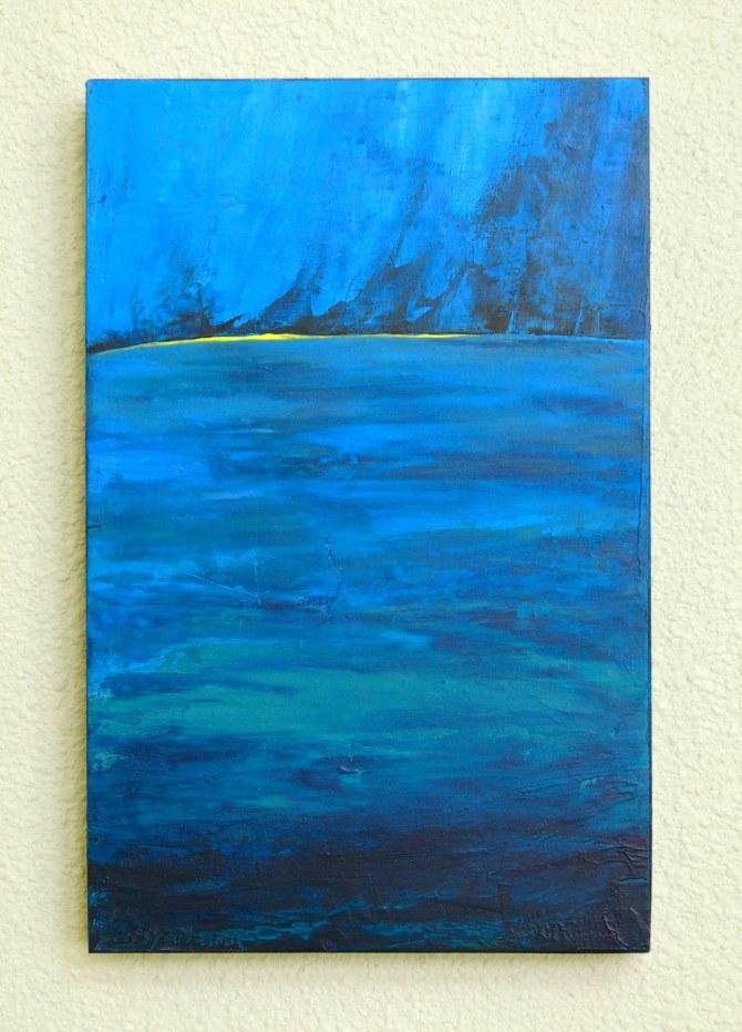 """""""Oceanscape"""" Acrylic on Wood 12"""" h  x   8"""" w  x 2""""d"""