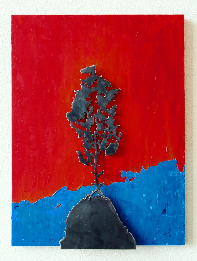 """The Burning Bush"" Steel and Acrylic on Wood  24"" h  x 18"" w  x 2""d"