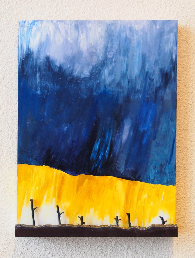 "Wheatfield with Stubble, was inspired by Vincent Van Gogh, and his painting ""Wheatfield with Crows"" 16"" h  x 12"" w  x 2""d"
