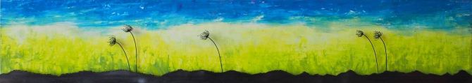 "Cotton Grass Steel and Acrylic on Wood 68""w x 12""h x 2""d"