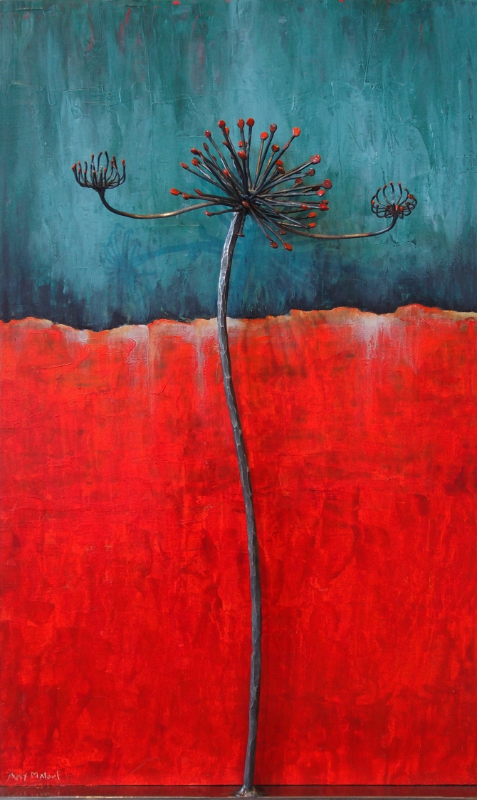 "Cow Parsnip in Red Steel and Enamel with Acrylic on Wood 18""w x 30""h x 6""d"