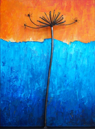 "Cow Parsnip with Orange and Blue Steel and Acrylic on Wood 18""w x 24""h x 5""d"