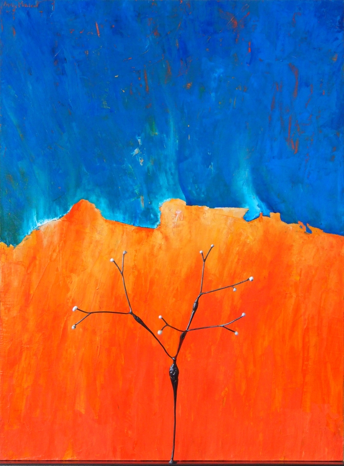 "Desert Trumpet with Blue and Orange No. 1 Steel and Acrylic on Wood 17.75""w x 24""h x 10""d"