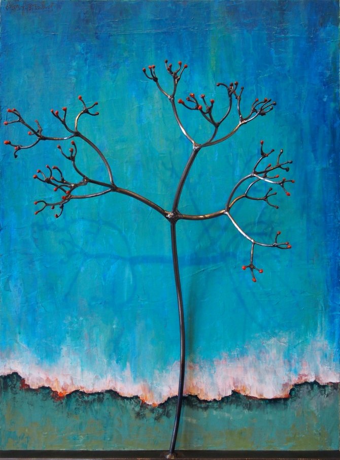 "Red Elderberry in Blue Steel and Enamel with Acrylic on Wood 18""w x 24""h x 8""d"