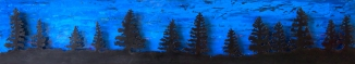 "Spruce Horizon Steel and Acrylic on Wood 68""w x 12""h x 2""d"