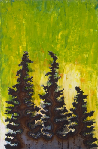 "Spruce with Green Steel and Acrylic on Wood 16""w x 24""h x 2""d"