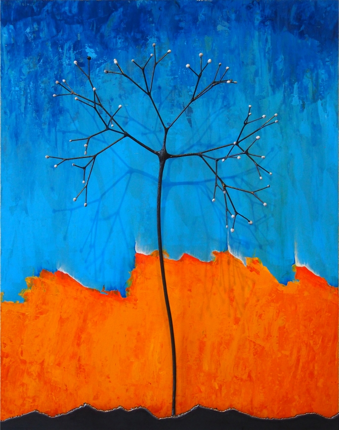 "White Elderberry with Blue and Orange Steel and Enamel with Acrylic on Wood 24""w x 30""h x 8""d"